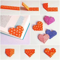 Origami Heart Corner Bookmark Instructions Lovely Diy Heart Bookmark S and for – Origami Paper Folding Paper Crafts Origami, Origami Easy, Diy Paper, Heart Origami, Origami Boxes, Dollar Origami, Oragami, Origami Stars, Origami Flowers