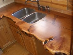 WOW.....Wood Counter Top for the Cabin!  The Juniper Kitchen - by Bradley@LumberJocks.com Cabin Homes, Log Homes, Wood Countertops, Live Edge Countertop, Reclaimed Wood Countertop, Kitchen Counters, Kitchen Island, Penny Countertop, Kitchen Benchtops