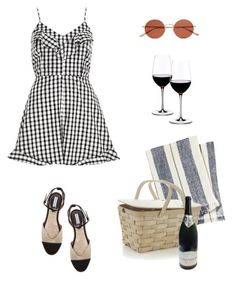 """Untitled #341"" by remedijos ❤ liked on Polyvore featuring River Island, Pehr, Crate and Barrel, Riedel, Oliver Peoples and gingham"
