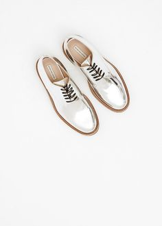 Totokaelo - Dries Van Noten Silver Metallic Lace Up Derby