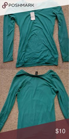 Rue21 teal long sleeve t-shirt,L. NWT NWT Rue 21 teal long sleeve t-shirt. Great with jeans or for work. Very plain but really great color. Size large. Comes from a smoke-free home. I ship fast and bundle when asked. Please contact me with any questions. Rue 21 Tops Tees - Long Sleeve