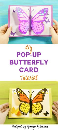 Card: DIY Pop-Up Tutorial Free tutorial, files, and pattern to make a pop-up butterfly card!Free tutorial, files, and pattern to make a pop-up butterfly card! 3d Cards, Pop Up Cards, Folded Cards, Pop Up Greeting Cards, Easel Cards, Diy Popup Cards, Popup Cards Tutorial, Diy Papillon, Kids Pop