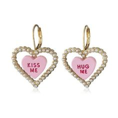 """Betsey Johnson """"Heart Candy Boost"""" Candy Heart and Pearl Drop Earrings (13 CAD) ❤ liked on Polyvore featuring jewelry, earrings, gold tone earrings, gold tone jewelry, pearl drop earrings, drop earrings and heart jewelry"""