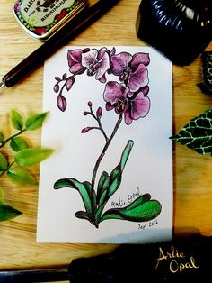 Orchids  Original Watercolor Painting by Arlie Opal by ArlieOpal