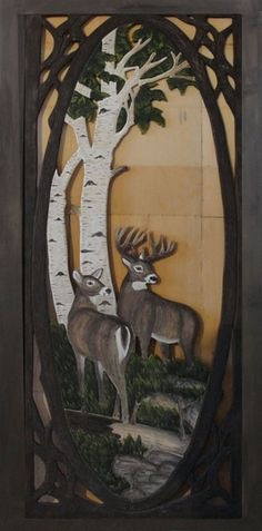 "Rustic Carved Screen Door with Buck & Doe in Forest Item #SD00101 36""W x 80""T x 1""D Single Sided Carving - $1195 Add $495 for Double Sided Carving."