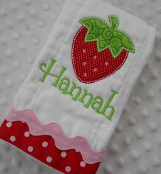 Embroidered BuRP CLoTH personalized with NaMe by mylittlehedgehog, $13.49