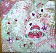 Crazy Quilting and Embroidery Blog by Pamela Kellogg of Kitty and Me Designs: Crazy Quilt Snowman