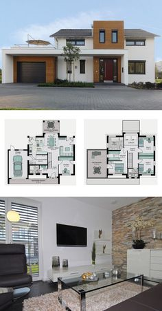 Modernes Einfamilienhaus mit Garage, Galerie und Satteldach Architektur - Grundriss Fertighaus Köln STREIF Haus Ideen - HausbauDirekt.de