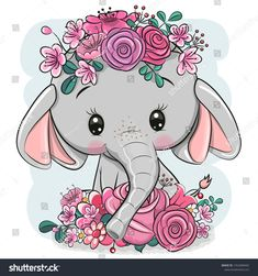Cartoon Elephant with flowers on a white background. Cute Cartoon Elephant with flowers on a white background royalty free illustration Cute Cartoon Pictures, Cute Cartoon Drawings, Cute Animal Drawings, Kawaii Drawings, Cartoon Pics, Cute Cartoon Wallpapers, Cute Images, Disney Drawings, Girl Cartoon
