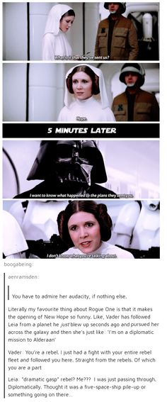 Vader to Leia: You're a rebel. Leia to Vader: I don't even know what you're taking about.