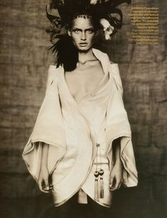 Givenchy Spring 1996 Haute Couture. Amber Valletta & Shalom Harlow photographed by Paolo Roversi for Vogue UK May 1996