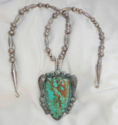Large Turquoise Cabochon Arrowhead Pendant Sterling Bench Bead Necklace 24""
