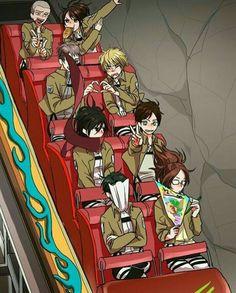 Connie, Sasha, Jean, Armin, yaoi, heart, Mikasa, Eren, Levi, Hanji, funny, rollercoaster, peace sign, eating, bread, writing, pamphlet; Attack on Titan