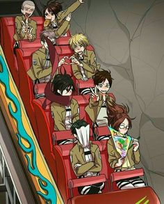Connie, Sasha, Jean, Armin, yaoi, heart, Mikasa, Eren, Levi, Hanji, funny, rollercoaster, peace sign, eating, bread, writing, pamphlet; Attack on Titan
