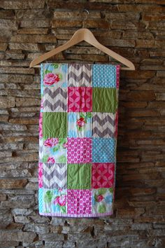Modern Baby Quilt Baby Girl Rose Quilt by ModMooi on Etsy, $125.00