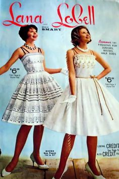 lana lobell | Lana Lobell Catalogs 1960s vintage fashion style color photo print ad models magazine white party dress fit flare full skirt black floral gloves shoes designer