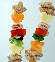 Switch things up with these shish kabob-style sandwiches... snacks on a skewer!
