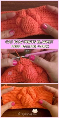 Crochet 3D Cat Paw Prints Blanket Free Pattern-Video