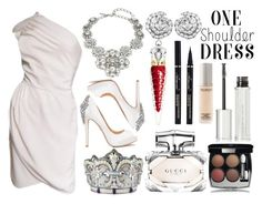 """Wrap Dress"" by princess13inred ❤ liked on Polyvore featuring Valentino, Oscar de la Renta, Badgley Mischka, Christian Louboutin, Judith Leiber, Gucci, Givenchy, Chanel and Juice Beauty"