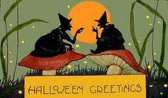 Weird Wonderful Witches on Mushrooms Vintage Halloween Postcard