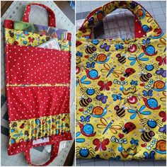 My signature fabric, The Doodlebug, makes for a  bag that is fun to carry coloring books and crayons in.  It closes with velcro.
