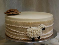 Awww, an adorable sheep-themed baby shower cake!