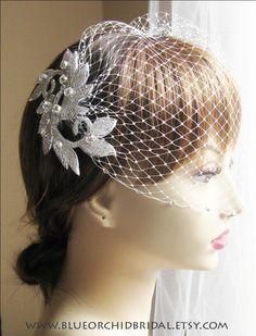 Wedding Fascinator Crystal Beaded Head Piece with Crystal Birdcage Veil. $135.00, via Etsy.