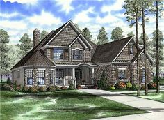 <p>This craftsman style house plan has a beautiful, unique exterior. Your family and guests alike will love the spacious great room that flows into the breakfast room. The private master bedroom is accompanied with a luxurious master bath - perfect for relaxing after a long day. Enjoy your view from the theater balcony on your way to one of the bedrooms housed on the upper floor. A large bonus room is also available, only adding to the options showcased in this wonderful design.</p>…