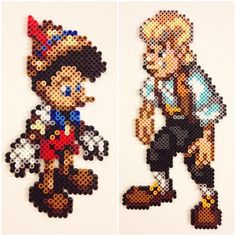 Pinocchio and Geppetto hama perler beads by cheekyb Hama Beads Design, Hama Beads Patterns, Beading Patterns, Perler Bead Disney, Perler Bead Art, Fuse Beads, Pearler Beads, Pixel Art, Bead Crafts
