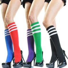 Angelina cotton REFEREE Knee High Socks, Bright Colors with White Stripes $6.50 (save $83.44) + Free Shipping
