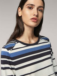STRIPED T-SHIRT WITH BUTTONS - Women - Massimo Dutti