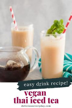 This Vegan Thai Iced Tea puts a twist on the classic Thai beverage. It's sweet, creamy, and refreshing. And best of all – you only need five simple ingredients and a few minutes to pull this sweet treat together. Easy Vegan Dinner, Vegan Dinner Recipes, Vegan Dinners, Vegan Comfort Food, Vegetarian Soup, Iced Tea, Entrees, Beverage, Food And Drink