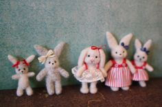Tiny needle felted bunnies with removable dresses!