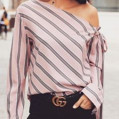 Solid Slit Knotted Back Casual Blouse - Madam Store:Women's Fashion Online Shopping Womens Fashion Online, Heart Print, Pattern Fashion, Sleeve Styles, Knots, Online Shopping, Stripes, Women's Fashion, Store
