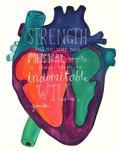 """Strength does not come from a physical capacity. It comes from an indomitable will."" - Gandhi #quotes"