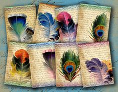 INSTANT DOWNLOAD Feathers on Vintage Letter Aged ATCs ACEOs or Jewelry Holders 2.5 X 3.5 inch - DigitalPerfection digital collage sheet 912 on Etsy, $4.00