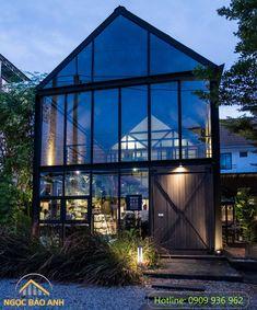 Thi Công Nhà Tiền Chế Coffee Shop Design, Cafe Design, House Design, Bbq House, Cafe House, Loft Cafe, Cafe Exterior, Restaurant Interior Design, Just Dream