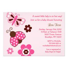 Shop Ladybug Butterfly Flower Baby Shower Invitations created by little_prints. Baby Shower Invitations, Custom Invitations, Birthday Invitations, Shower Favors, Invites, Baby Shower Party Supplies, Baby Shower Parties, Garden Baby Showers, Baby Shower Flowers