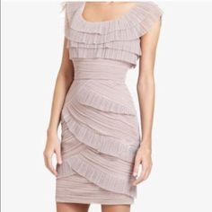 Bcbgmaxazria Scoop Neck Ruffle Dress Right on trend for this seasons it pastel color! Such a stunning dress. Only worn once. In like new condition except for a minor snag by the zipper. Not noticeable when worn. See last pic. BCBGMaxAzria Dresses Mini