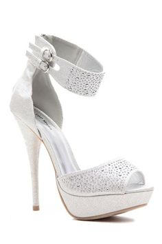 Silver Glitter Piped Ankle Strap Peep Toe Platform Heels