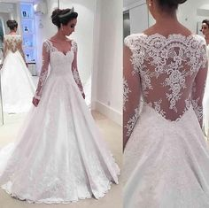 Gorgeous Long Sleeves A-line White Wedding Dress Bridal Gown
