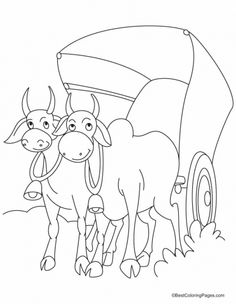 A bullock cart piled high with rice straw coloring pages