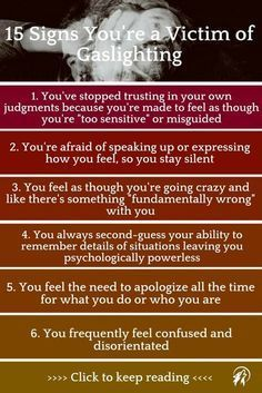 Popular gaslighting signs. Gaslighting is a form of emotional abuse that makes you doubt your sanity. Click to keep reading ...
