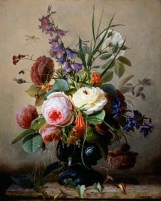 A Still Life of Summer Flowers by Hans Hermann for french headboard decal