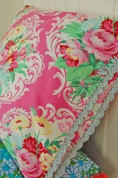 Vintage fabric pillows<3...Rose Hip