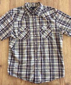 Men's XL GAP Tan/Gray/Black Plaid Pearl Snap Western Short Sleeve Shirt #GAP #ButtonFront