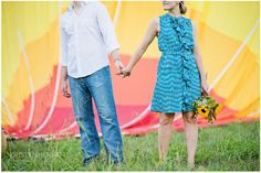 Hot air balloon engagement photo session.