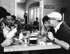 Jack Lemmon, Shirley MacLaine and Billy Wilder have lunch during the filming of The Apartment, 1960.