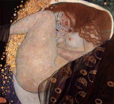 クリムトの絵は「接吻」が有名だけど、私はこちらの方が好き。  黄金の雨に化けたゼウスと交わるダナエの図なんだけど、このなんともいえない恍惚感がいい・・。