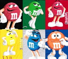 m and m | Mars Candy Character T Shirts Red Yellow Blue Green Youth and ...